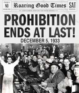 Periódico de EEUU donde se anuncia el final de la ley seca